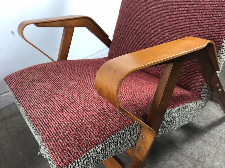 Mid-20th Century Classic Pair of Mid-Century Modern Bentwood Lounge Chairs after Carlo Mollino For Sale