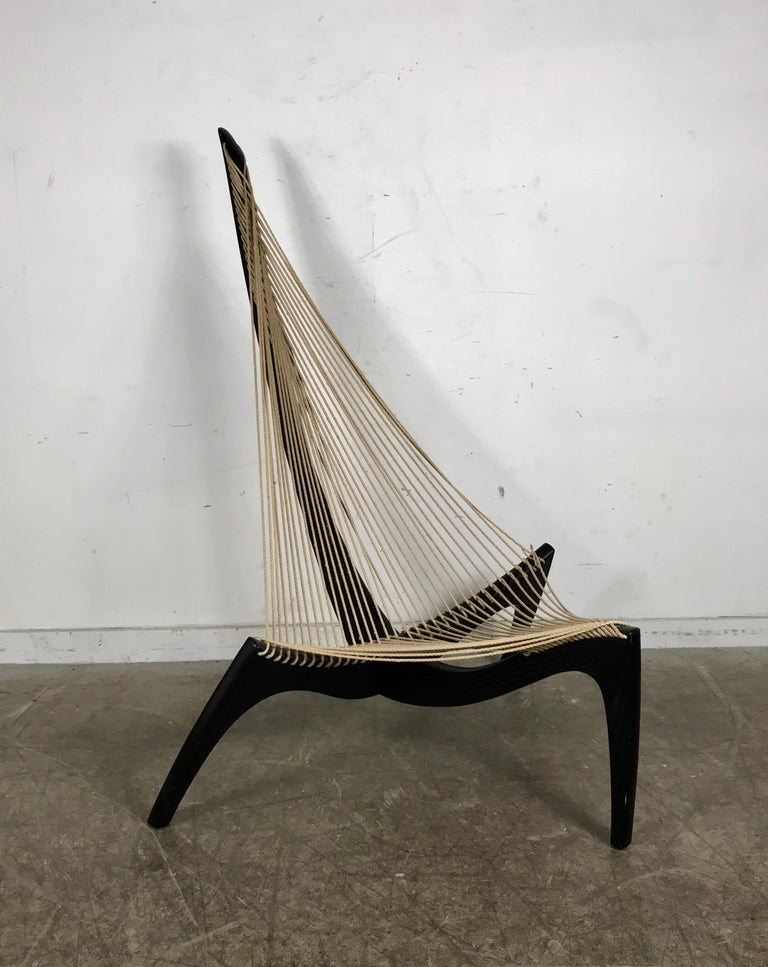 Jorgen Hovelskov harp chair form 1970. This example retains its original ebonized ash finish and retains its original rope, flag halyard. Classic Mid-Cerntury Modern, stunning design and much more comfortable then it looks, hand delivery avail to