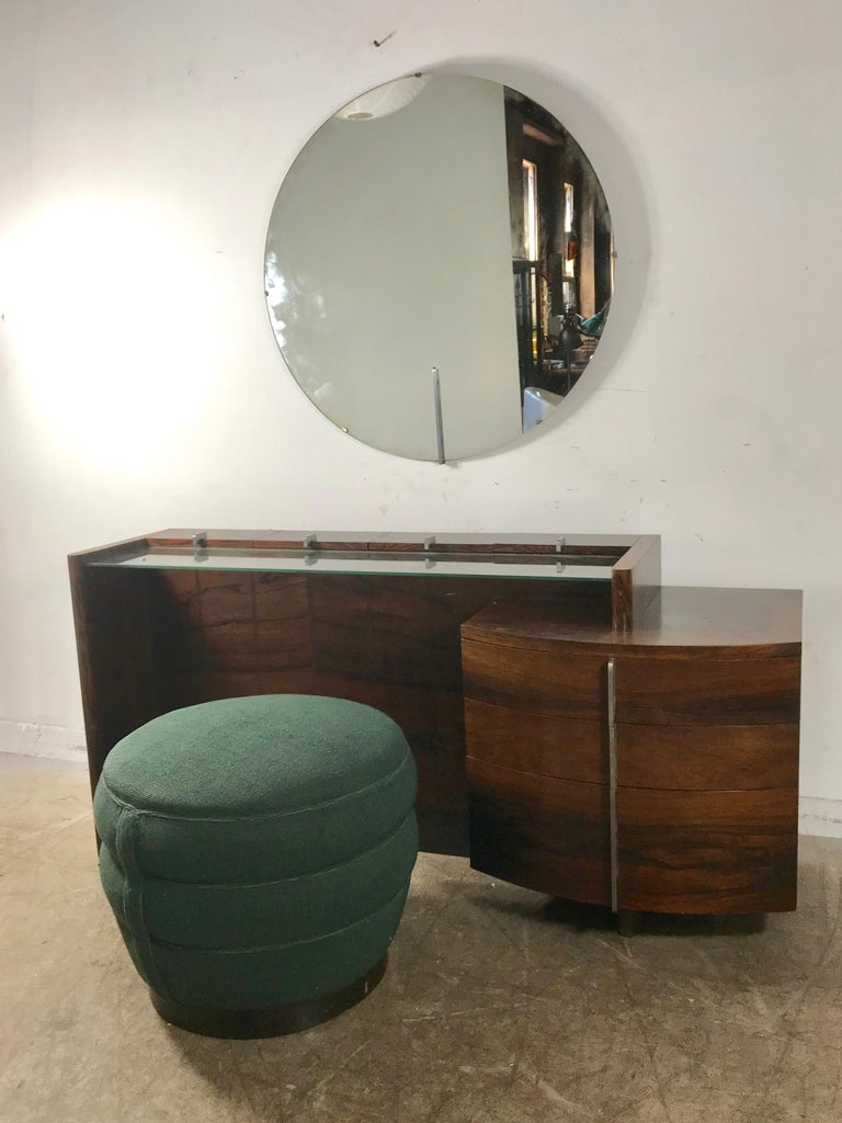 American Stunning Gilbert Rohde Art Deco Rosewood Dressing Table, Poof and Mirror For Sale