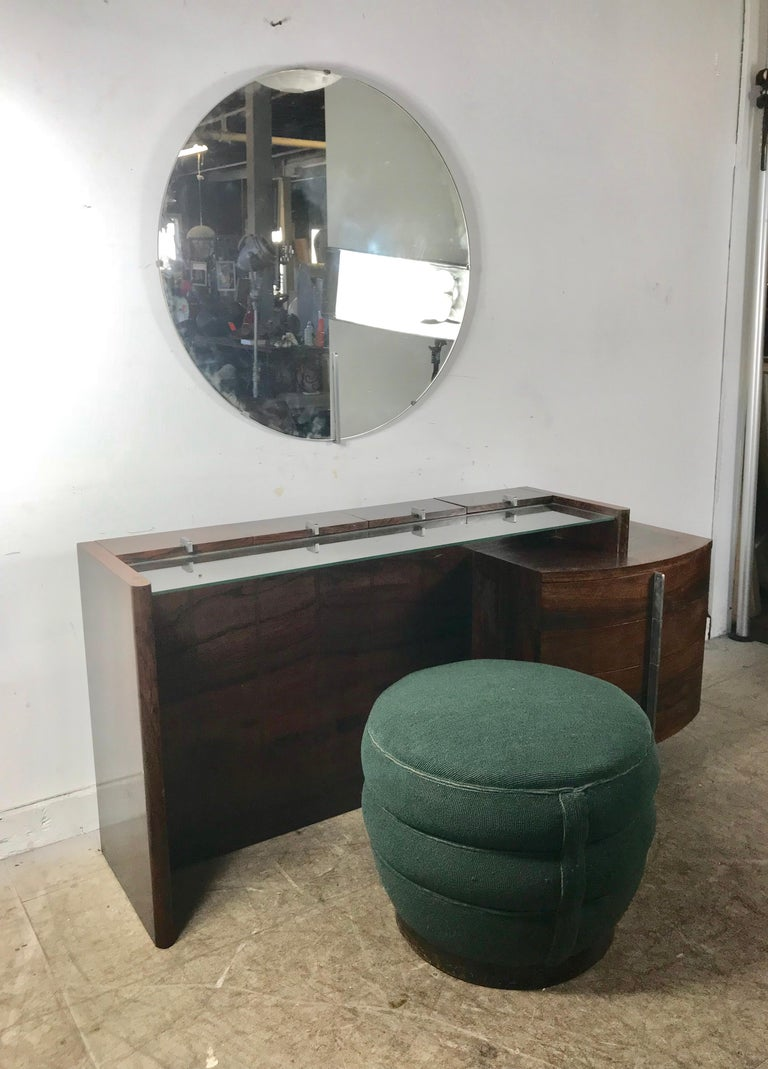Fabric Stunning Gilbert Rohde Art Deco Rosewood Dressing Table, Poof and Mirror For Sale