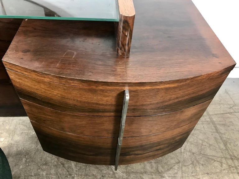 Stunning Gilbert Rohde Art Deco Rosewood Dressing Table, Poof and Mirror For Sale 2