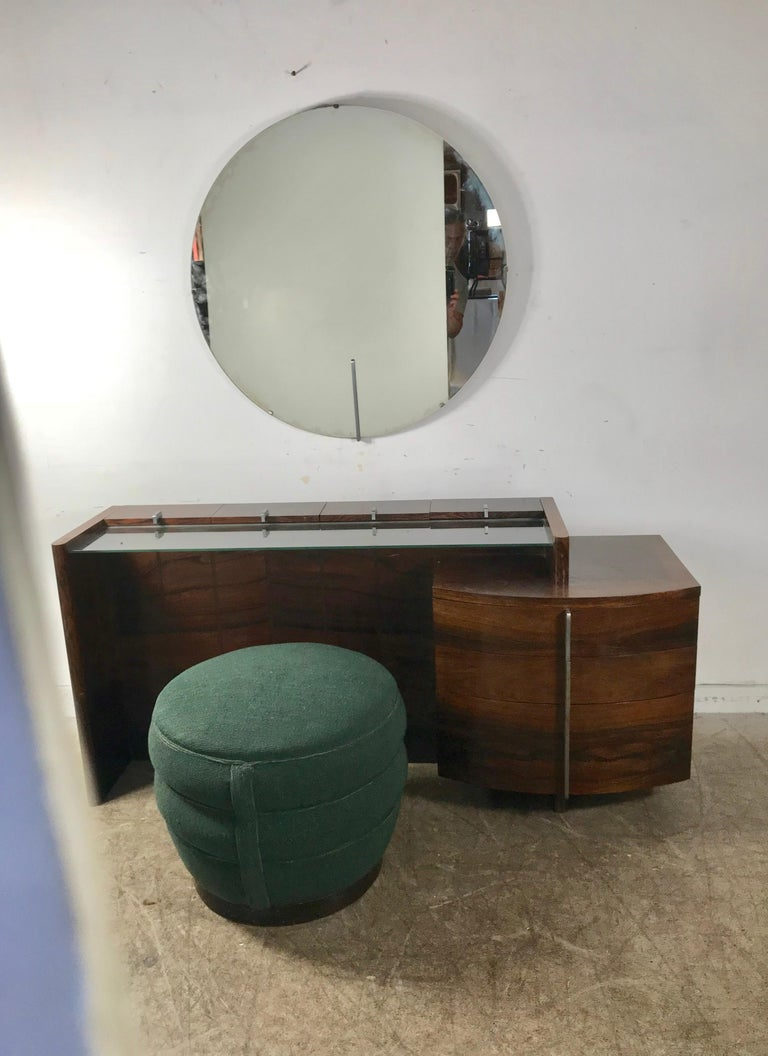 Stunning Gilbert Rohde Art Deco Rosewood Dressing Table, Poof and Mirror For Sale 4