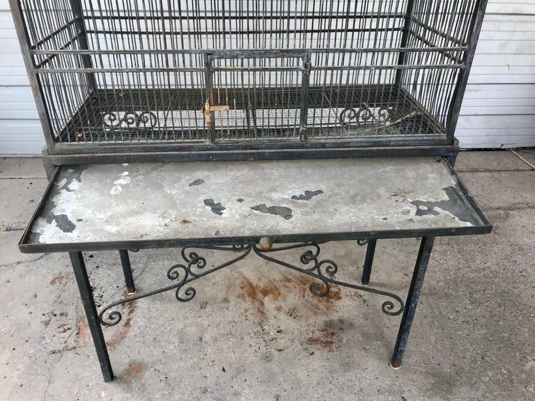 Monumental Victorian Style Antique Brass, Painted Bird Iron Bird Cage For Sale 3