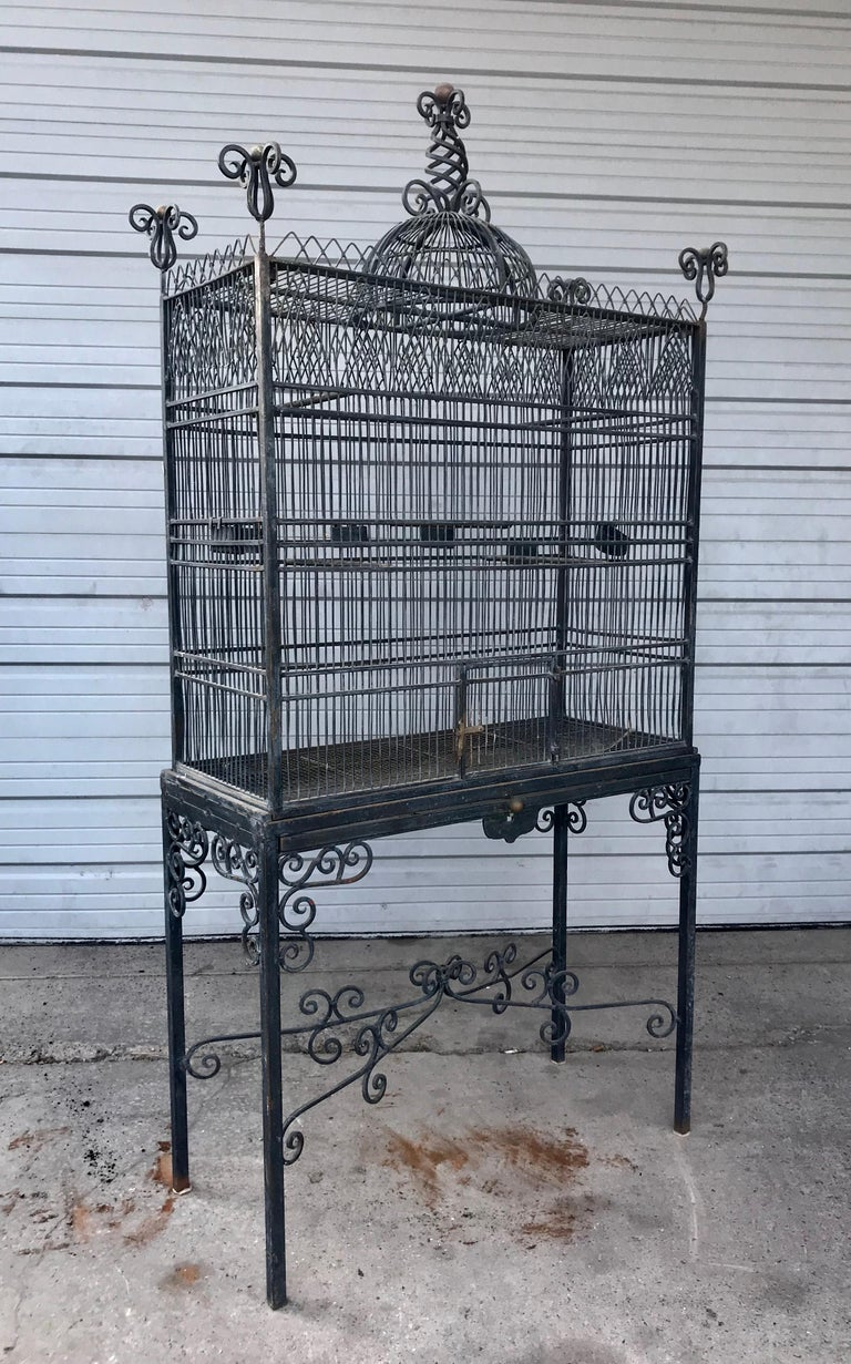 Monumental Victorian Style Antique Brass, Painted Bird Iron Bird Cage For Sale 4