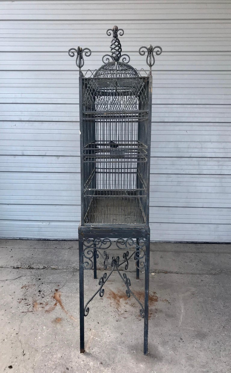 Monumental Victorian Style Antique Brass, Painted Bird Iron Bird Cage In Distressed Condition For Sale In Buffalo, NY