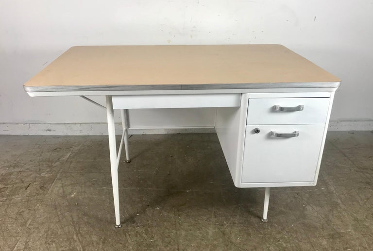 American Modernist Lacquered Steel Desk, Metal Industrial For Sale