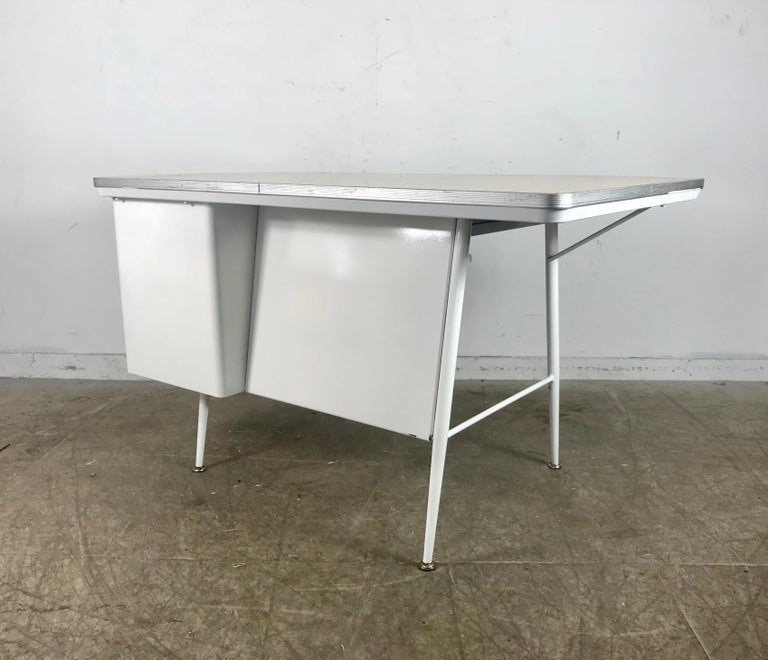 Aluminum Modernist Lacquered Steel Desk, Metal Industrial For Sale