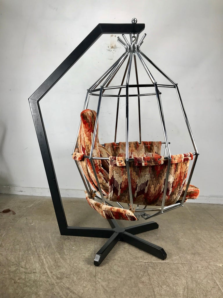 Metal Original 1970s Swedish Parrot Chair, Hanging Birdcage by Ib Arberg 'Arborg For Sale