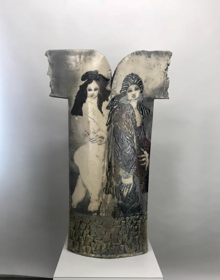 Large Steven Kemenyffy Raku pottery floor sculpture double-sided stunning.  Mr. Kemenyffy was born in Budapest, Hungary in 1943 in the midst of World War II. His father was serving in the war effort during his birth, and Steven and his mother