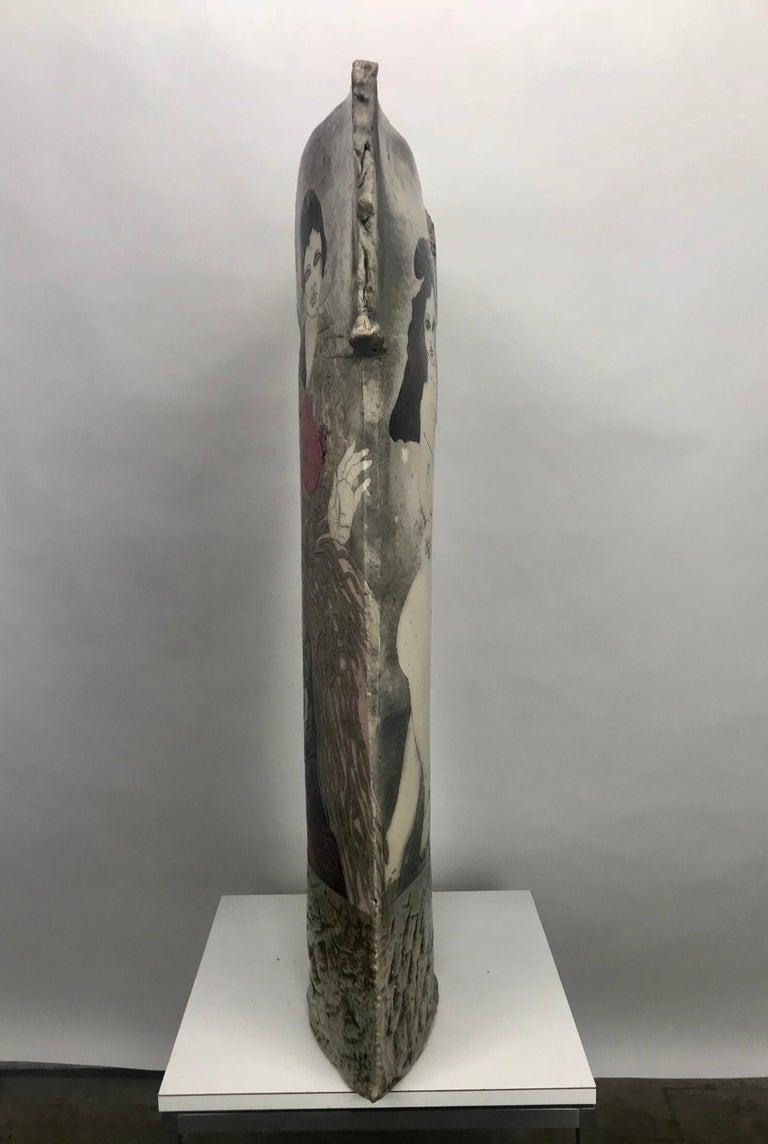 American Large Steven Kemenyffy Raku Pottery Floor Sculpture Double-Sided For Sale