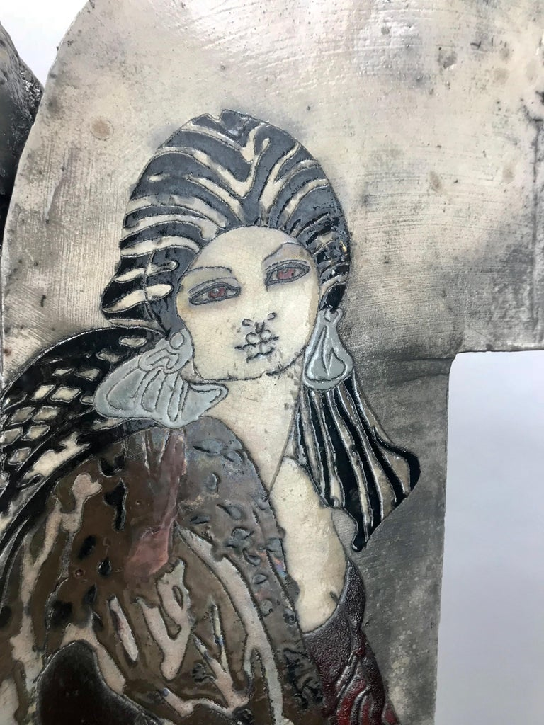 Ceramic Large Steven Kemenyffy Raku Pottery Floor Sculpture Double-Sided For Sale