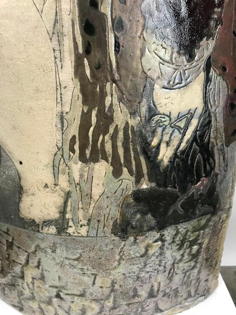 Large Steven Kemenyffy Raku Pottery Floor Sculpture Double-Sided For Sale 2