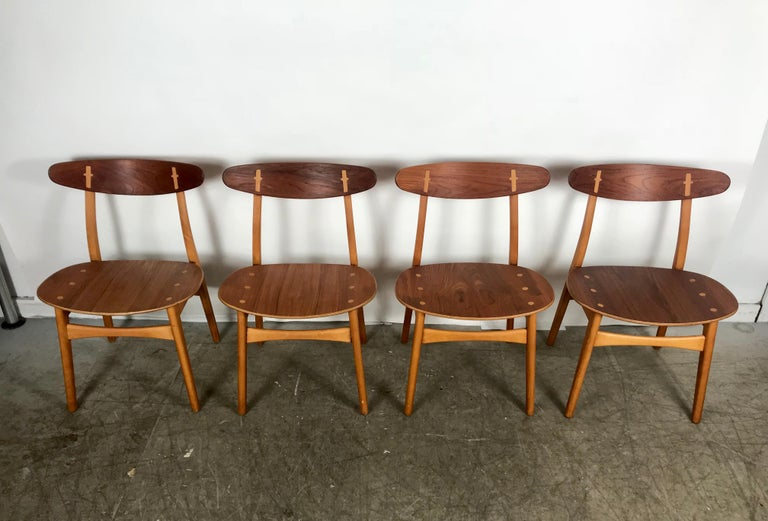 Danish Set 4 Dining Chairs CH-30 Designed by Hans Wegner for Carl Hansen & Sons For Sale