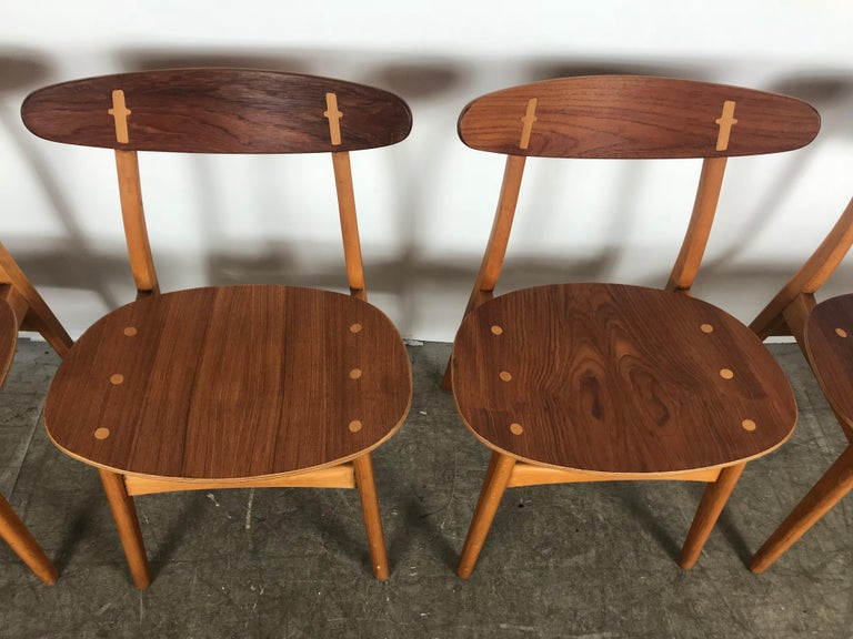 Set 4 dining chairs CH-30 designed by Hans Wegner for Carl Hansen and sons, early with original burn in impressed stamps, recently professionally restored, no loose joints, tight, stunning! Hand delivery avail to New York City or anywhere en route