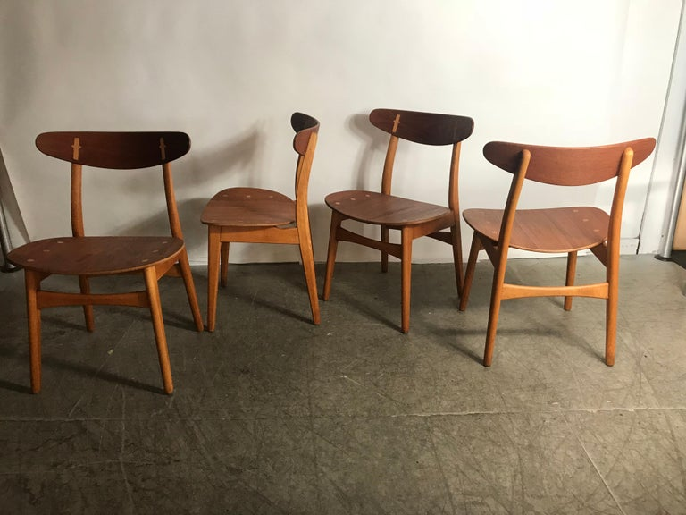 Set 4 Dining Chairs CH-30 Designed by Hans Wegner for Carl Hansen & Sons For Sale 3