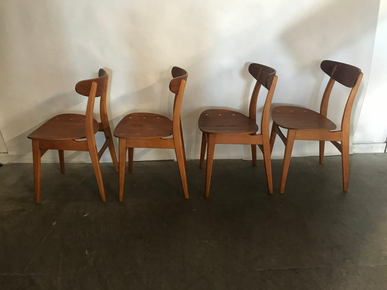 Set 4 Dining Chairs CH-30 Designed by Hans Wegner for Carl Hansen & Sons For Sale 4