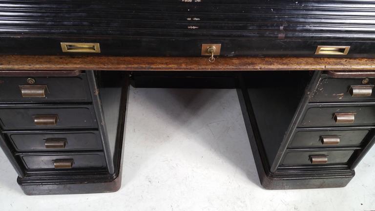 Antique Industrial Steel Roll Top Desk Quarter Sawn Oak