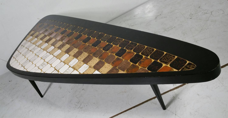 Rare Asymmetric Guitar Pick Tile Top Coffee Table
