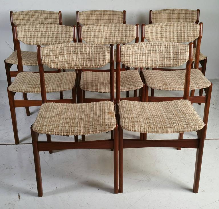 Nice Set Of Eight Rosewood Dining Chairs Designed By Erik Buch Retain Original Wool