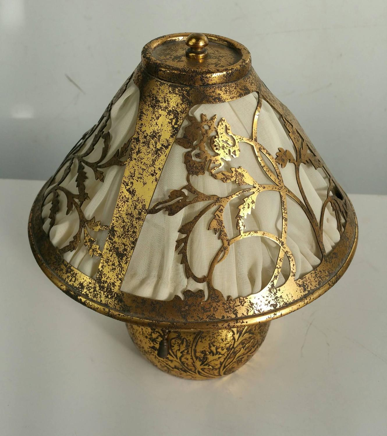 Classic arts and crafts boudoir lamp silver over bronze for Metal arts and crafts