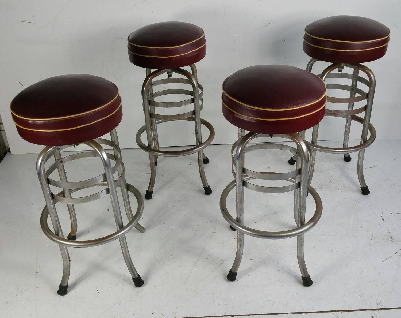 Rare Art Deco Chrome And Oil Cloth Bar Stools Helena
