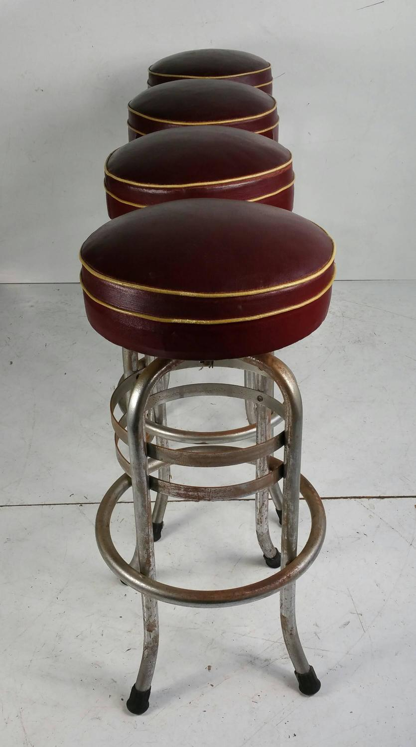 Rare Art Deco Chrome And Oil Cloth Bar Stools Helena