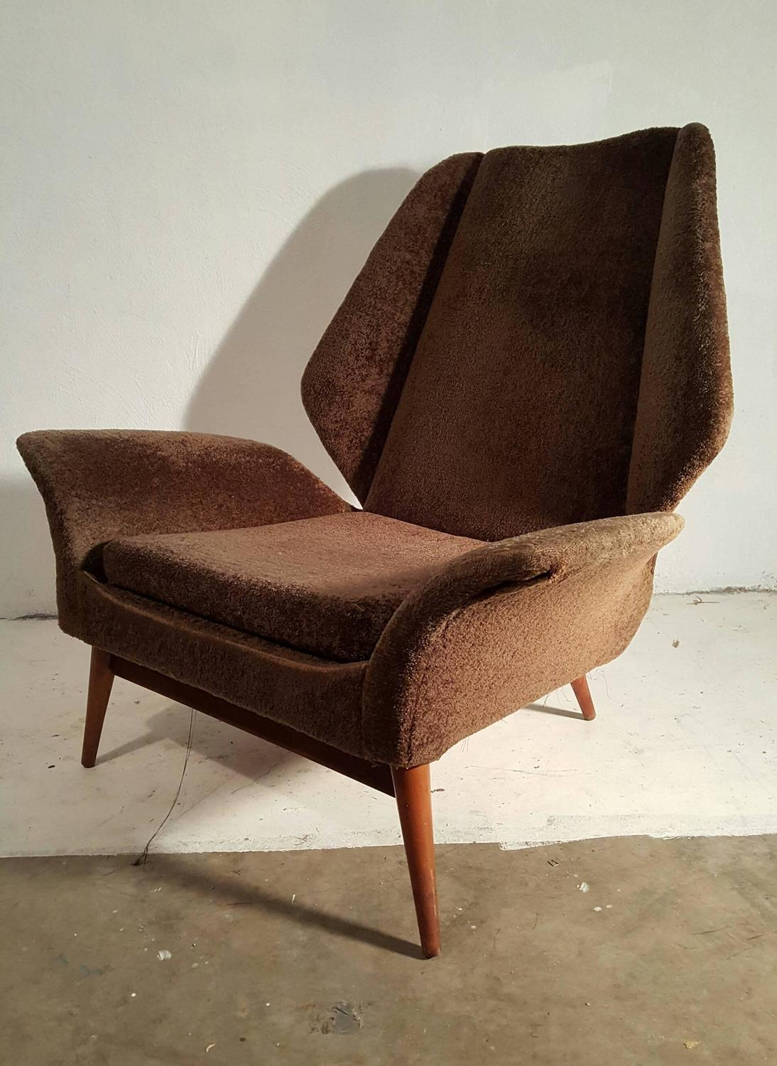 Organic Italian Modernist Lounge Chair Oversized Winged Arms at 1stdibs
