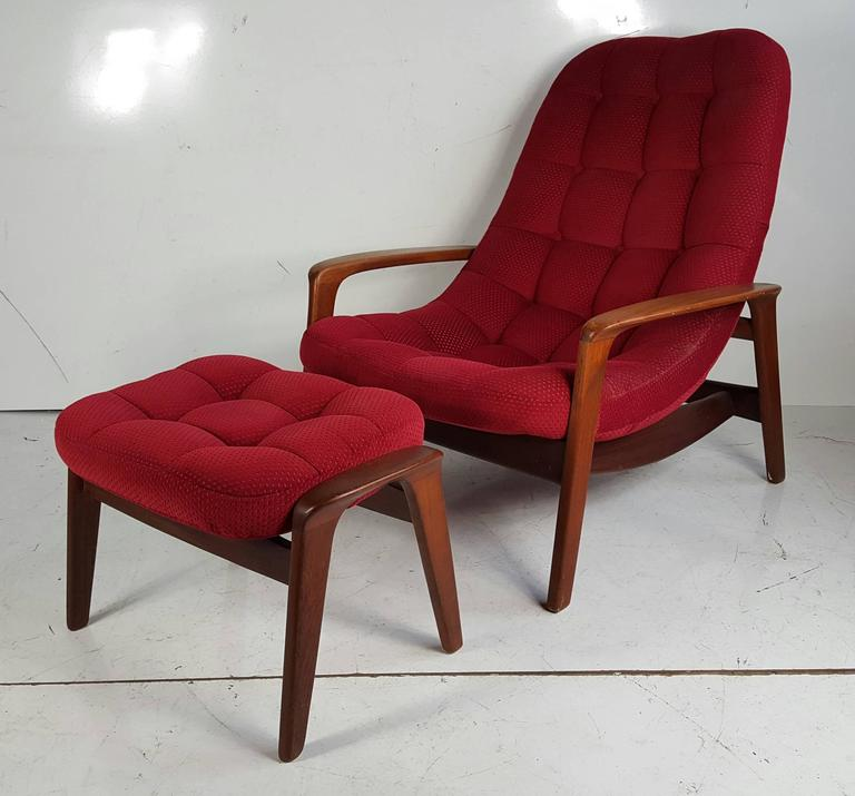 Teak Lounge Chair By And Ottoman R Huber Mid Century