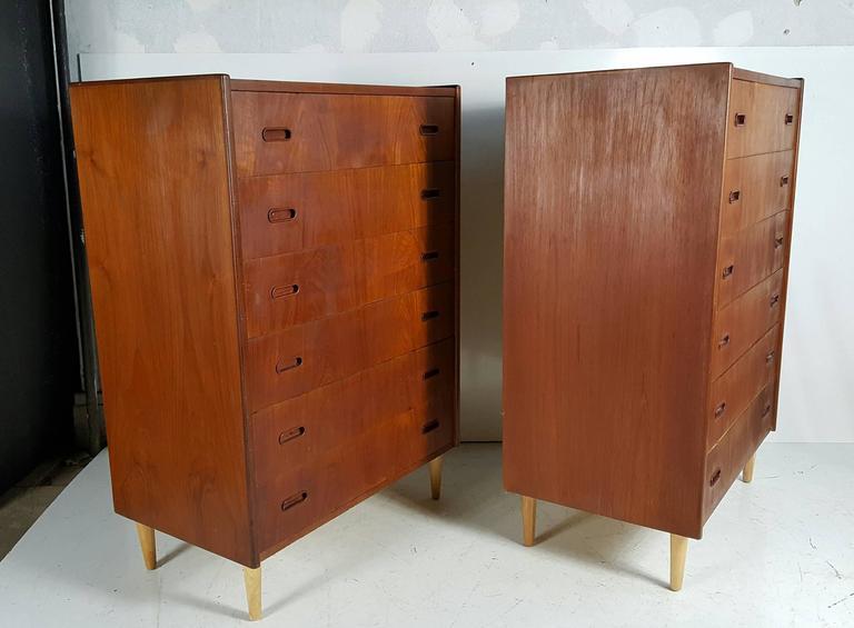 Classic pair Danish Modern Teak six drawer bachelor's chest's..designed by Arne Vodder mfg by Falster,,
