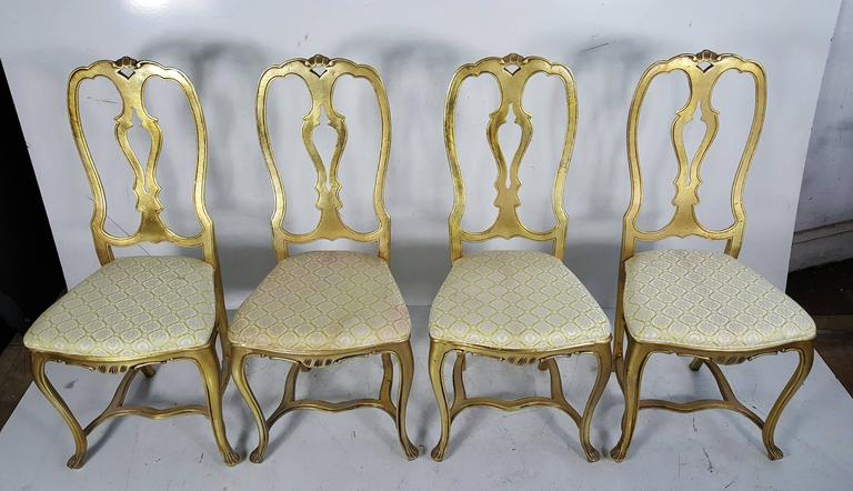 Set Of Four Rococo Style Gilt Aluminium Chairs 1960s For
