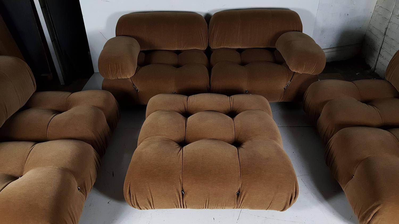 Sectional Camaleonda Sofa In Cognac Wool Velvet By Mario