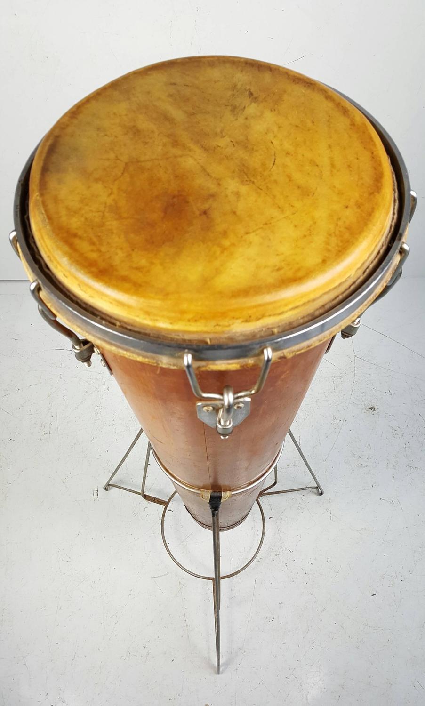 Rare Antique Gon Bop Conga Drum With Original Stand
