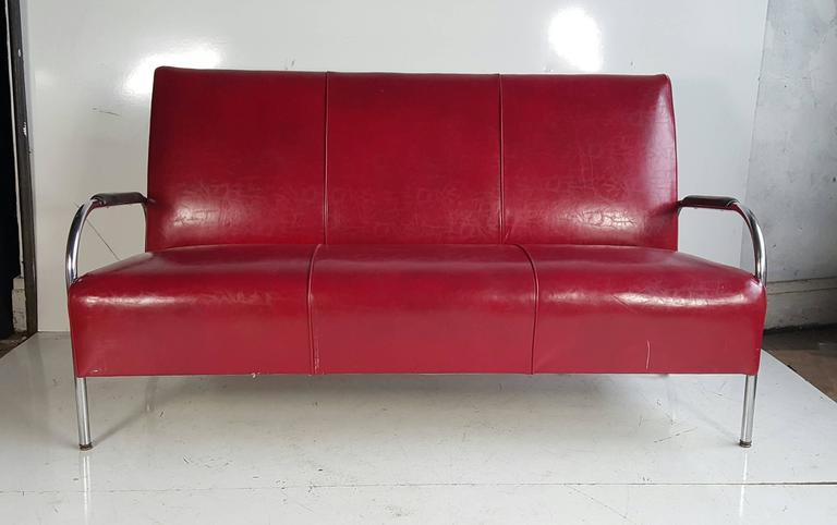 Wolfgang Hoffmann Tubular Chrome Three Seat Sofa Settee