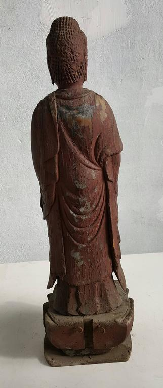 19th Century Japanese Carved Wood Buddha Figure Standing on Lotus