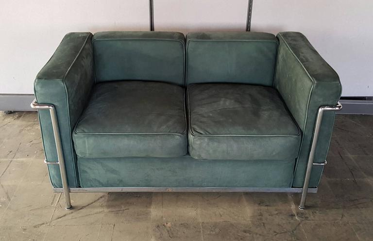 Le Corbusier Two Seat Sofa Loveseat Green Suede And Chrome At 1stdibs