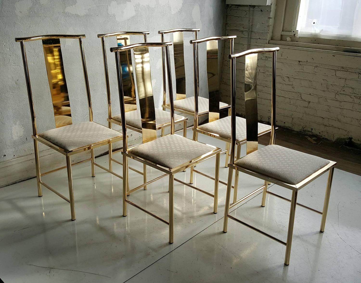set of six asian modern brass dining chairs by mastercraft at 1stdibs