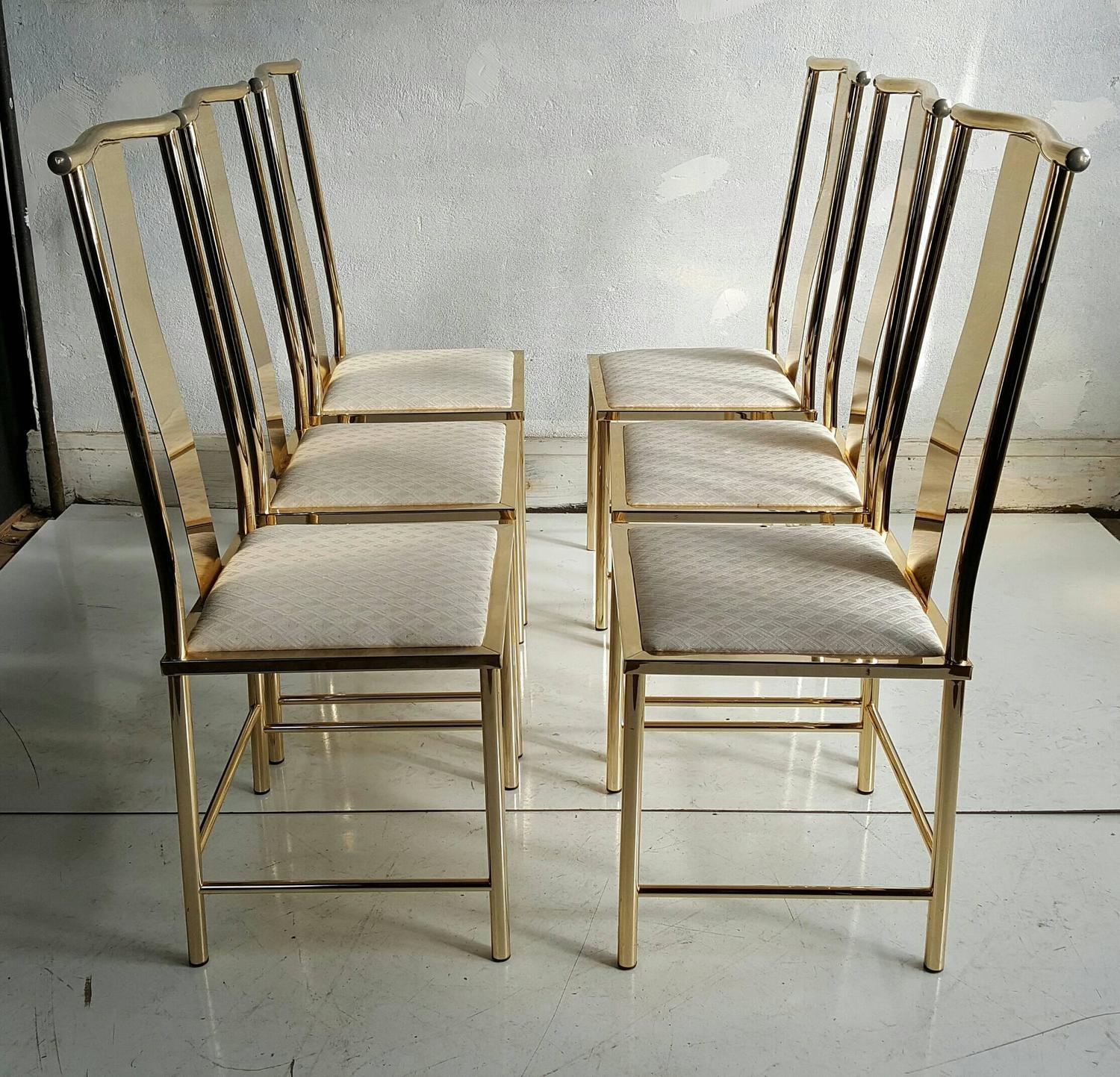 set of six asian modern brass dining chairs by mastercraft