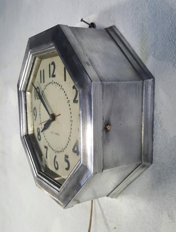 Rare art deco aluminium clock seth thomas hexagon at 1stdibs for Seth thomas wall clocks value