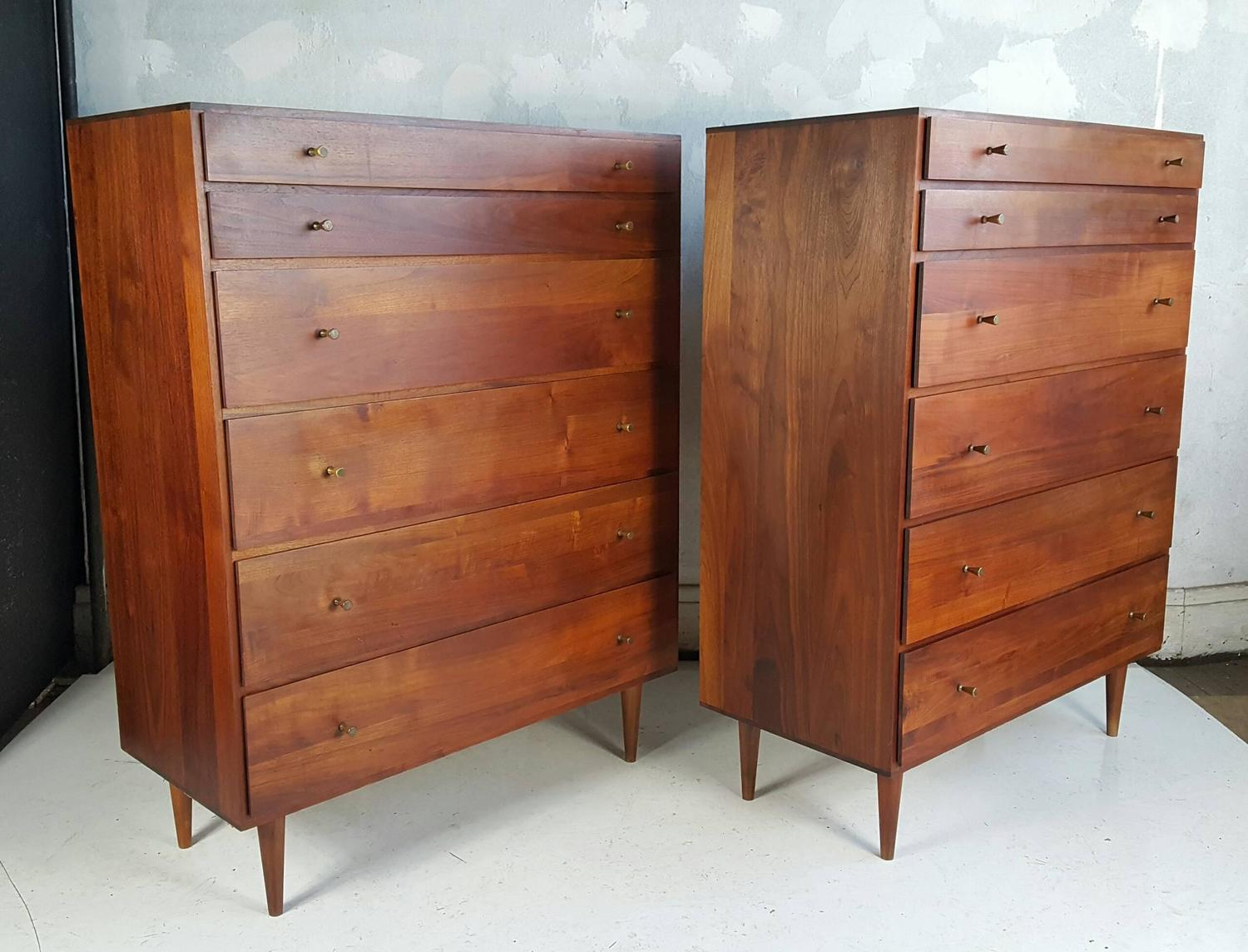 Pair Of Mid Century Modern Solid Walnut 6 Drawer Chests
