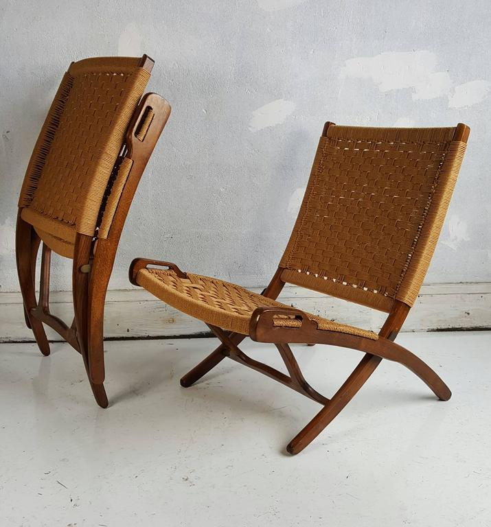 Pair of Hans J Wegner Style Folding Chairs Classic Cane and Walnut at 1stdibs