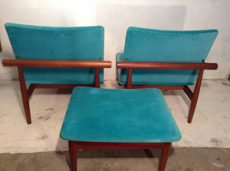Pair iconic japan chairs with rare ottoman at 1stdibs Iconic chair and ottoman