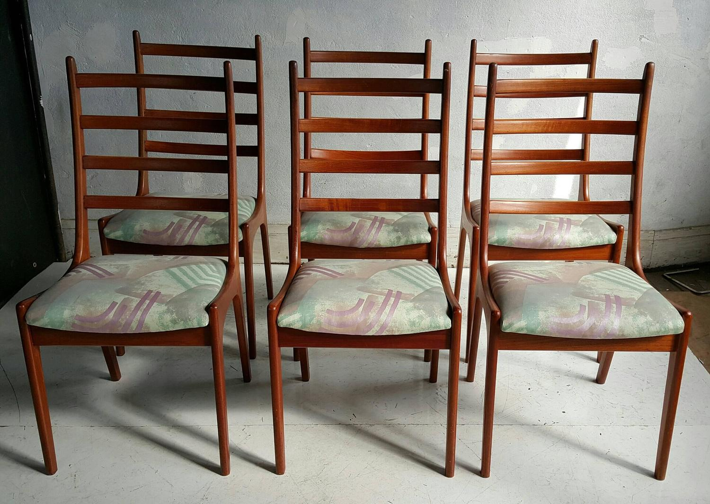 Set of six danish modern teak ladder back dining chairs by kai kristiansen for sale at 1stdibs - Kai kristiansen chair ...