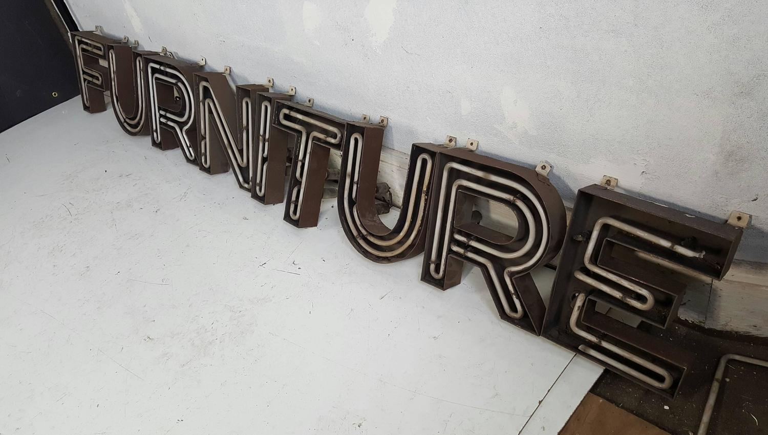 Mid century modern steel incased neon letters furniture for Furniture 6 letters
