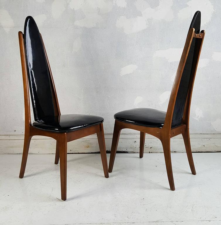 set of four black patent leather modernist regency dining