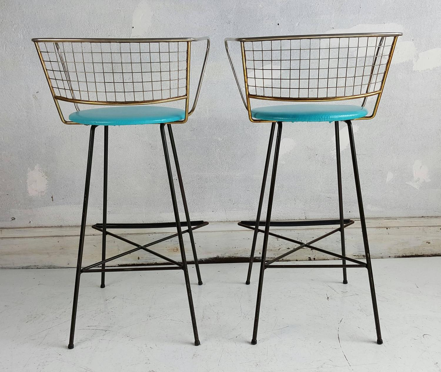 Pair mid century modern wire and brass bar stools at 1stdibs