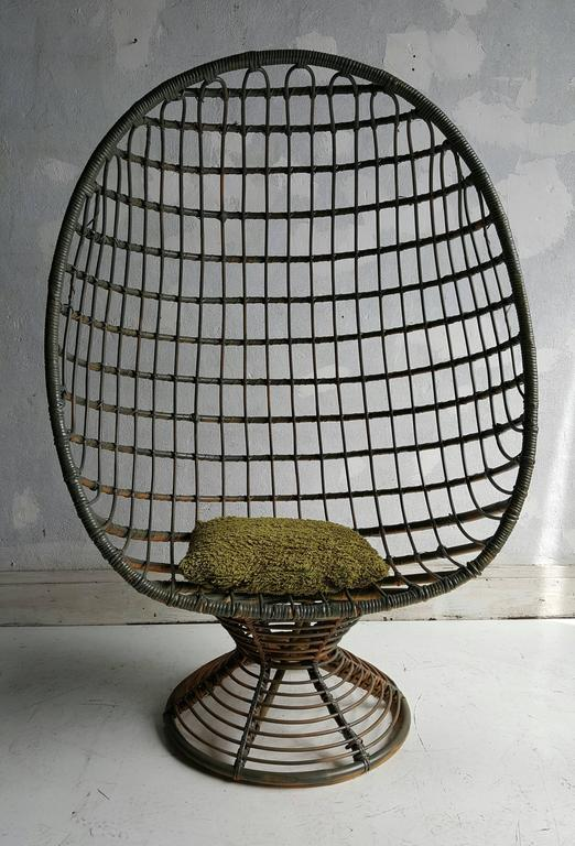 Mid-Century Modern Bamboo and Cane Enclosed Egg Chair by Rohé Noordwolde 1960s For & Bamboo and Cane Enclosed Egg Chair by Rohé Noordwolde 1960s at 1stdibs