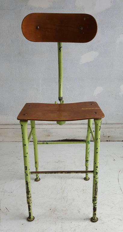 Sculptural Industrial Medical /Drafting Stool In Distressed Condition For Sale In Buffalo, NY