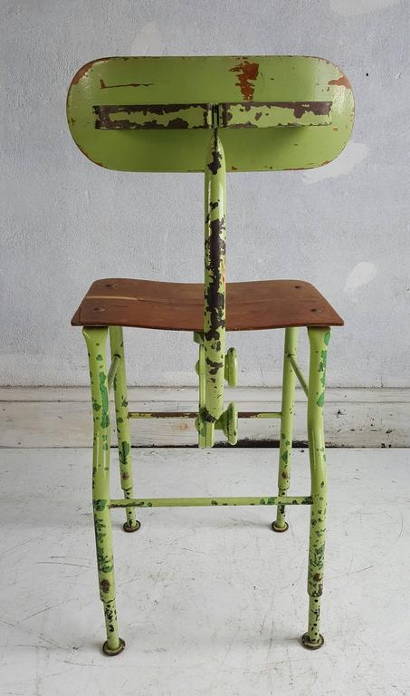 Painted Sculptural Industrial Medical /Drafting Stool For Sale