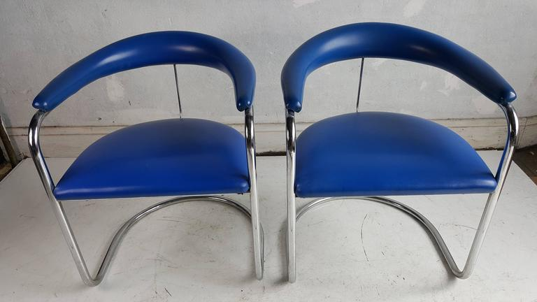 Chrome Pair Of Anton Lorenz Chairs For Thonet Model SS33 For Sale