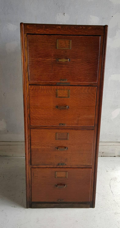 Classic Quartered Oak Four Drawer File Cabinet Finished